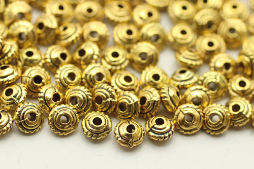 BEAD, Bali Rope, 5x3mm, Antique Gold Plated (metal alloy), approx 150 per bag