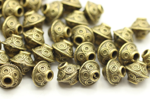 BEAD, Bicone Circle Design, 6x7mm, Antique Bronze Plated (metal alloy), approx 50 per bag