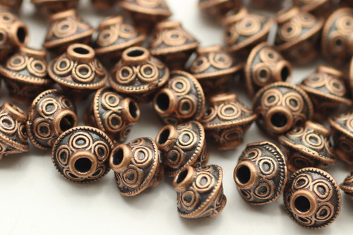 BEAD, Bicone Circle Design, 6x7mm, Antique Copper Plated (metal alloy), approx 50 per bag