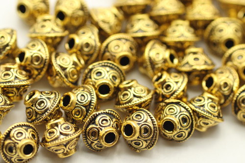 BEAD, Bicone Circle Design, 6x7mm, Antique Gold Plated (metal alloy), approx 50 per bag