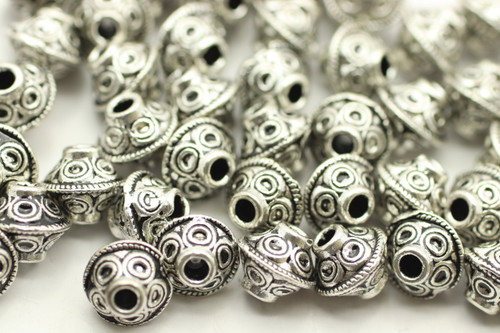 BEAD, Bicone Circle Design, 6x7mm, Antique Silver Plated (metal alloy), approx 50 per bag