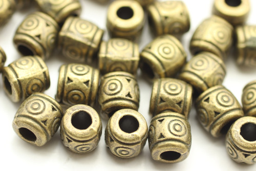 BEAD, Patterned Barrel, 6x7 3mm hole, Antique Bronze Plated (metal alloy), approx 30 per bag