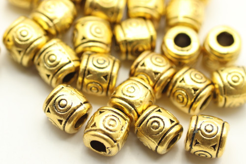 BEAD, Patterned Barrel, 6x7 3mm hole, Antique Gold Plated (metal alloy), approx 30 per bag
