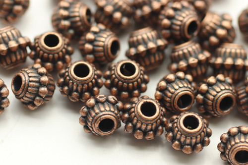 BEAD, Barrell with Bumpy Middle, 6x8mm, Antique Copper Plated (metal alloy), approx 35 per bag