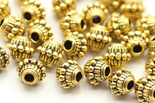 BEAD, Barrell with Bumpy Middle, 6x8mm, Antique Gold Plated (metal alloy), approx 35 per bag
