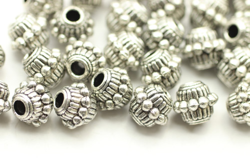 BEAD, Barrell with Bumpy Middle, 6x8mm, Antique Silver Plated (metal alloy), approx 35 per bag