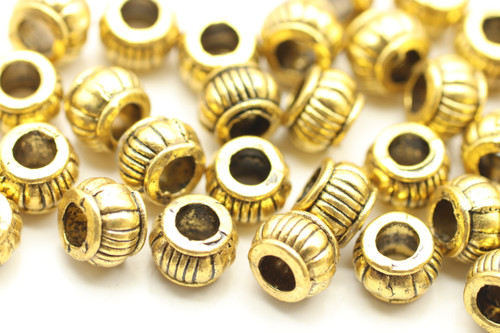 BEAD, Bali Style, 5x7 3mm hole, Antique Gold Plated (metal alloy), approx 45 per bag