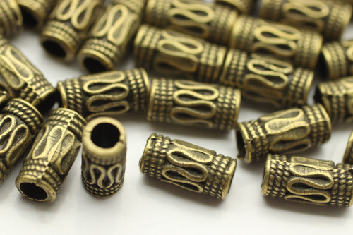 TUBE, Thin Bali Style, 5x10 3.5mm hole, Antique Bronze Plated (metal alloy), approx 42 per bag