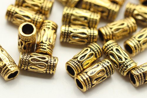 TUBE, Thin Bali Style, 5x10 3.5mm hole, Antique Gold Plated (metal alloy), approx 42 per bag
