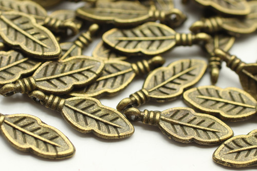 FEATHER, 18x6x1mm, Antique Bronze Plated (metal alloy), approx 60 per bag
