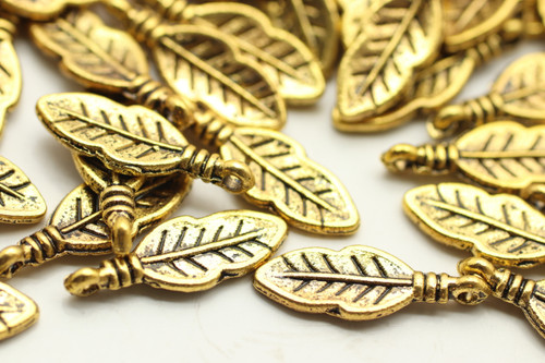 FEATHER, 18x6x1mm, Antique Gold Plated (metal alloy), approx 60 per bag