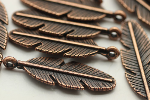FEATHER, Drop, 30x9x4mm, Antique Copper Plated (metal alloy), approx 18 per bag