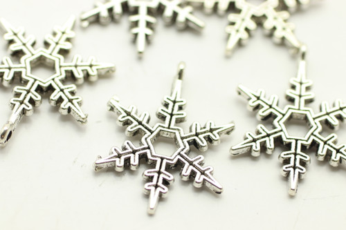 SNOWFLAKE, 24x21x2mm, Antique Silver Plated (metal alloy), approx 16 per bag