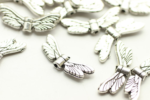 ANGEL WING, 6x20x3mm, Antique Silver Plated (metal alloy), approx 26 per bag