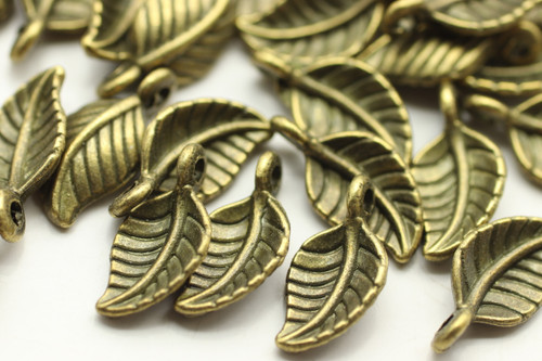 LEAF, Curled, 15x8x3mm, Antique Bronze Plated (metal alloy), approx 45 per bag