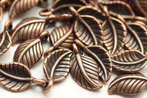 LEAF, Curled, 15x8x3mm, Antique Copper Plated (metal alloy), approx 45 per bag