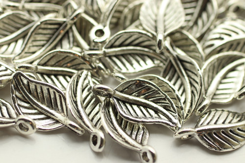 LEAF, Curled, 15x8x3mm, Antique Silver Plated (metal alloy), approx 45 per bag