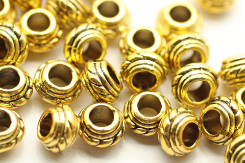 BEAD, Bali Style, 9x5 4mm hole, Antique Gold Plated (metal alloy), approx 40 per bag