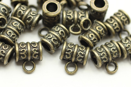 TUBE, Ornate with Dangle, 8x9 3mm hole, Antique Bronze Plated (metal alloy), approx 35 per bag