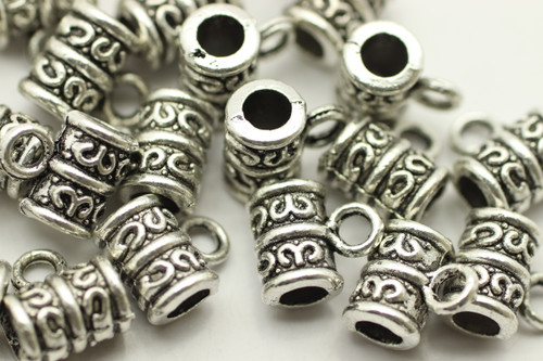TUBE, Ornate with Dangle, 8x9 3mm hole, Antique Silver Plated (metal alloy), approx 35 per bag