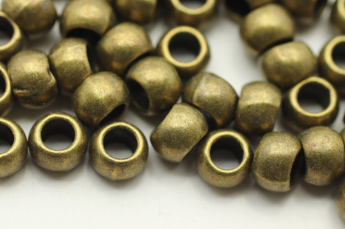 BEAD, Round, 5x7 4mm hole, Antique Bronze Plated (metal alloy), approx 55 per bag
