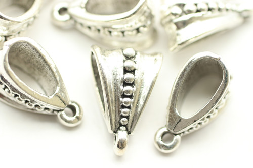 BAIL, Studded with Loop, 15x9 5mm opening, Antique Silver Plated (metal alloy), approx 10 per bag