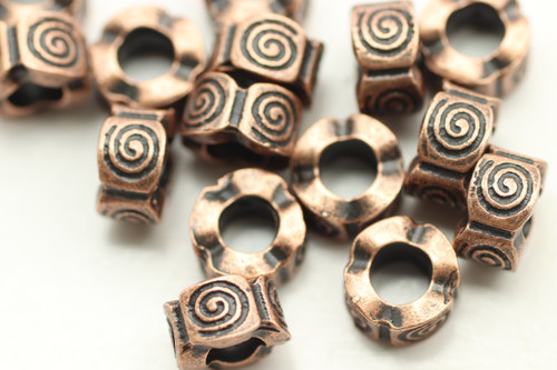 TUBE, 7x9 4mm hole, Antique Copper Plated (metal alloy), approx 15 per bag