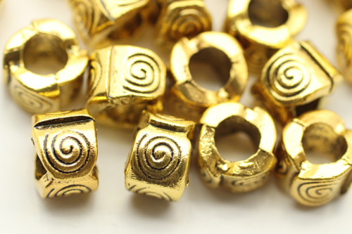 TUBE, 7x9 4mm hole, Antique Gold Plated (metal alloy), approx 15 per bag