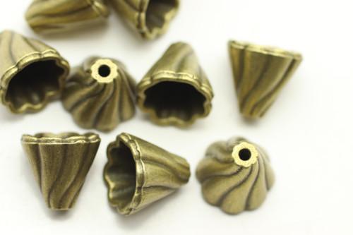 CAP, Draped, 13x13 10mm end, Antique Bronze Plated (metal alloy), approx 10 per bag