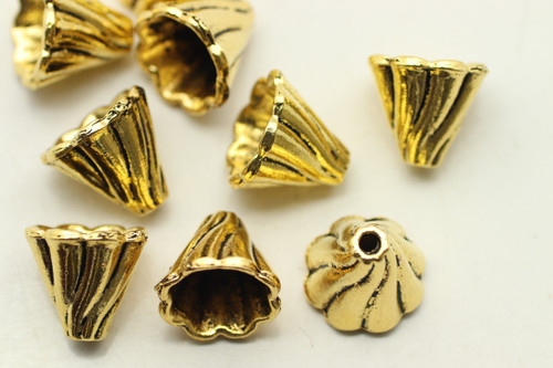 CAP, Draped, , 13x13 10mm end, Antique Gold Plated (metal alloy), approx 10 per bag