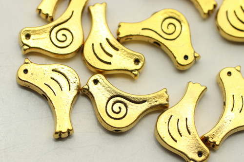 BIRD, 15x7x3mm, Antique Gold Plated (metal alloy), approx 22 per bag
