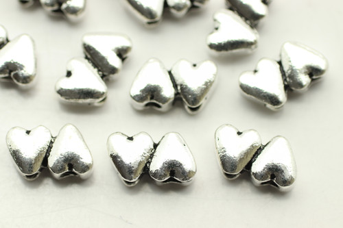 HEART, Double hole, Two Joined, 10x6x4mm, Antique Silver Plated (metal alloy), approx 25 per bag