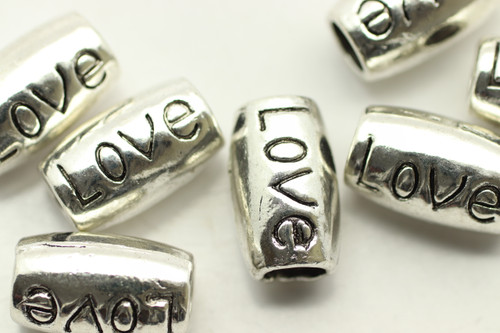 "TUBE, ""Love"", 14x8 4mm hole, Antique Silver Plated (metal alloy), approx 6 per bag"