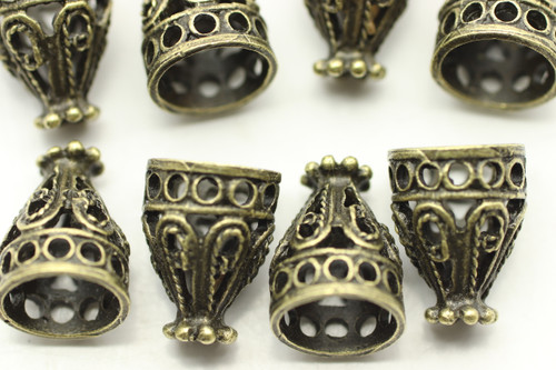 CONE, Filigree, 12x9 8mm end, Antique Bronze Plated (metal alloy), approx 10 per bag