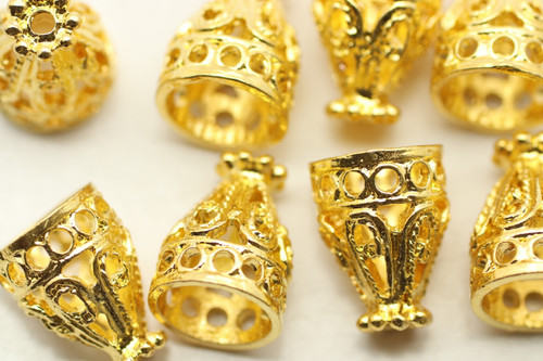 CONE, Filigree, 12x9 8mm end, Shinny Gold Plated (metal alloy), approx 10 per bag