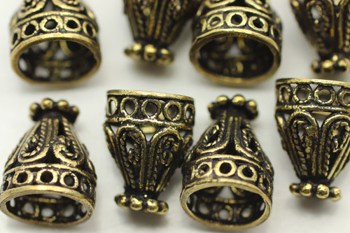 CONE, Filigree, 12x9 8mm end, Antique Gold Plated (metal alloy), approx 10 per bag
