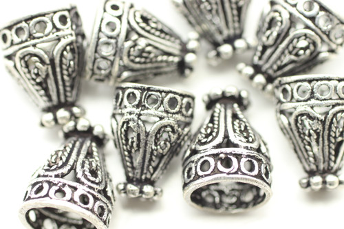 CONE, Filigree, 12x9 8mm end, Antique Silver Plated (metal alloy), approx 10 per bag