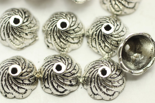CAP, Swirl, 10x6mm, Antique Silver Plated (metal alloy), approx 34 per bag