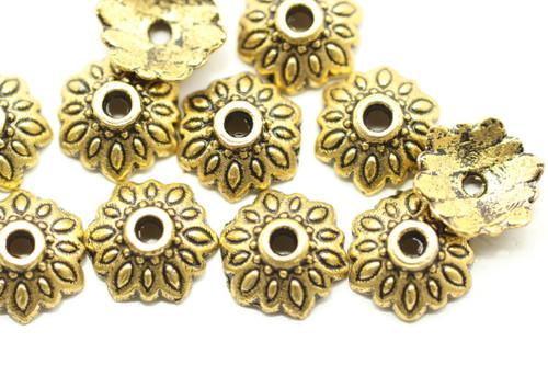 CAP, 9x3mm, Antique Gold Plated (metal alloy), approx 70 per bag