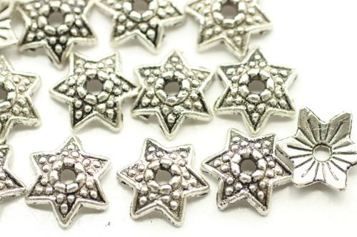CAP, Star, 10x4mm, Antique Silver Plated (metal alloy), approx 75 per bag
