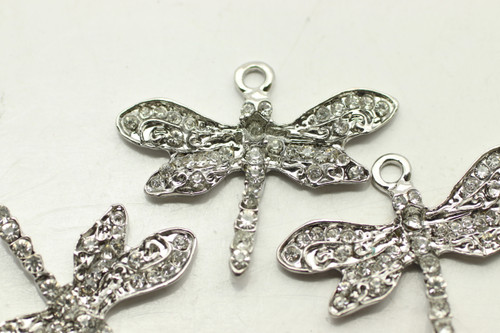 RHINESTONE, Dragonfly, 24x30x3mm, Antique Silver Plated (metal alloy), approx 3 per bag