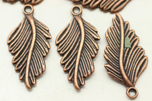 LEAF, Curled, Double Sided, 30x15x2mm, Antique Copper Plated (metal alloy), approx 10 per bag
