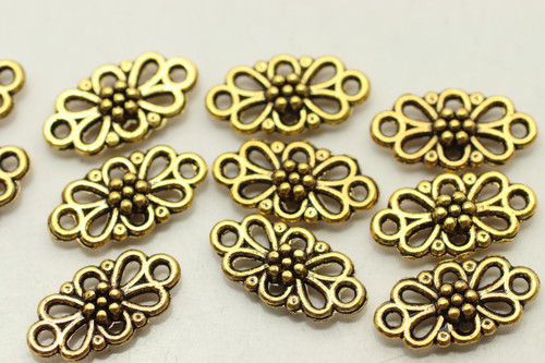 CONNECTOR, Patterned, Double Sided, 16x8x3mm, Antique Gold Plated (metal alloy), approx 45 per bag