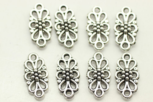 CONNECTOR, Patterned, Double Sided, 16x8x3mm, Antique Silver Plated (metal alloy), approx 45 per bag