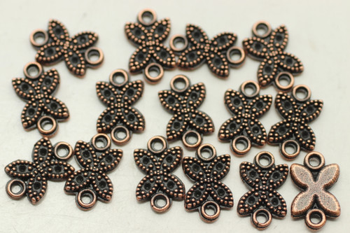 CONNECTOR, Flower, 12x8x2mm, Antique Copper Plated (metal alloy), approx 60 per bag