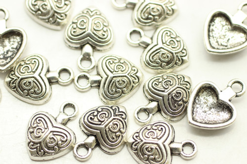HEART, Patterned, 14x10x3mm, Antique Silver Plated (metal alloy), approx 30 per bag