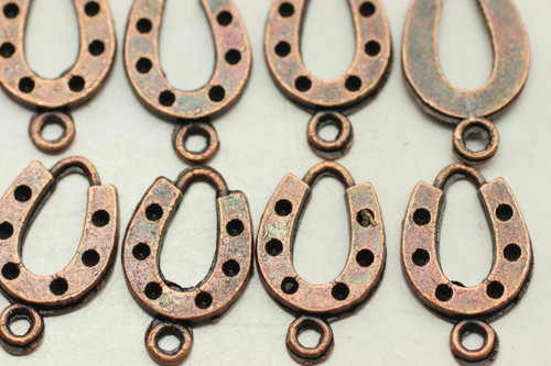 HORSESHOE, 28x12x2mm, Antique Copper Plated (metal alloy), approx 28 per bag