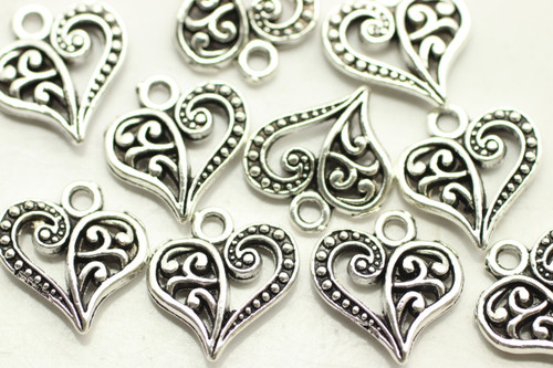 HEART, Split Design, Double Sided, 14x13x3mm, Antique Silver Plated (metal alloy), approx 28 per bag