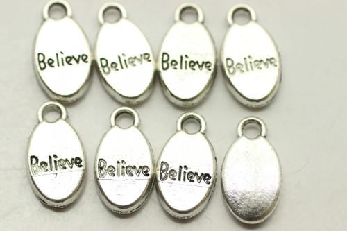 BEAD, Believe on Oval, 16x9x3mm, Antique Silver Plated (metal alloy), approx 14 per bag