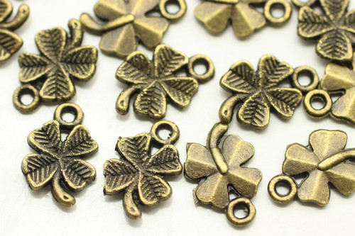 4 LEAF CLOVER, Double Sided, 15x10x2mm, Antique Bronze Plated (metal alloy), approx 40 per bag